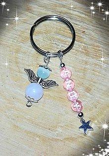 Iné šperky - Vaše oblubene privesky Prívesok alebo klucenka na kluče alebo tašku  anjeliky z mačacieho oka a ruženinu pre štastie a l - 10713774_