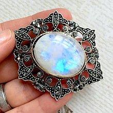 Odznaky/Brošne - Moonstone Antique Silver Brooch / Brošňa s mesačným kameňom v starostriebornom prevedení /2101 - 10712271_