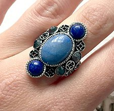 Prstene - Luxury Lapis Lazuli & Jade Ring / Luxusný výrazný prsteň s lazuritom a jadeitom /2099 - 10712535_