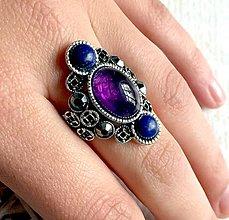 Prstene - Luxury Lapis Lazuli & Amethyst Ring / Luxusný výrazný prsteň s lazuritom a ametystom /2099 - 10713207_