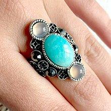 Prstene - Luxury Agate & Amazonite Ring / Luxusný výrazný prsteň so šedým achátom a amazonitom /2099 - 10713268_