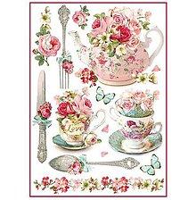 Papier - Ryžový papier na decoupage -A4-Stamperia- šálka, čaj - 10712472_