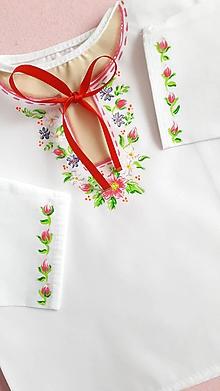 Detské oblečenie - maľovaná košieľka ku krstu - 10713376_