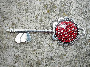 Náhrdelníky - key from your heart-granát - 10714679_