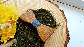 Doplnky - Drevený motýlik  (Drevený motýlik + manzetové gombíky + masívna darčeková krabička) - 10712351_