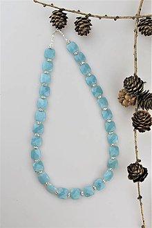 """Náhrdelníky - trblietavý """"akvamarín"""" náhrdelník - 10712946_"""