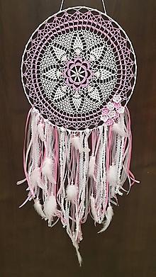 Dekorácie - Háčkovaný ružový sen - lapač snov - 10712719_