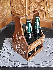 Pomôcky - Rustikální nosič na 4 lahve krása dřeva přírodní - 10714332_