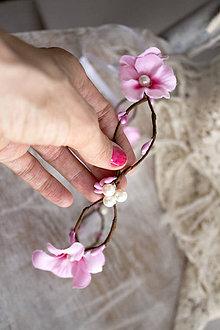 Ozdoby do vlasov - Kvetinový venček ,,jemný ružový,, - 10712530_
