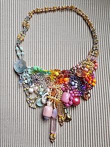 Náhrdelníky - Farebný náhrdelník skoro pastelový - 10713508_