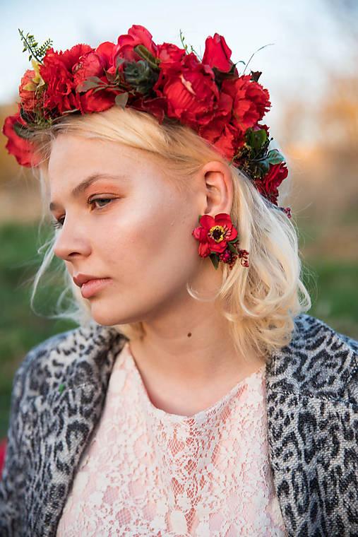 """Kvetinové klipsne náušnice """"v krajine makov"""""""