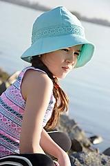 Čiapky - Ľanový klobúk dámsky-mentolový - 10714936_