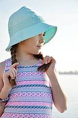 Čiapky - Ľanový klobúk dámsky-mentolový - 10714937_