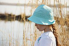 Čiapky - Ľanový klobúk dámsky-mentolový - 10714938_