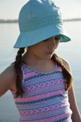 Čiapky - Ľanový klobúk dámsky-mentolový - 10714942_