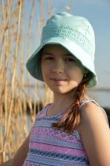Čiapky - Ľanový klobúk dámsky-mentolový - 10714943_