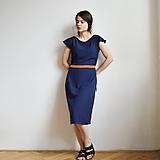 Šaty - Modré šaty s oranžovým detailom - 10712285_