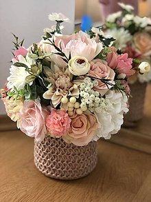 Dekorácie - Kvetinova dekoracia ruzova - 10712704_