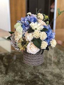 Dekorácie - Kvetinova dekoracia modra hortenzia - 10713058_
