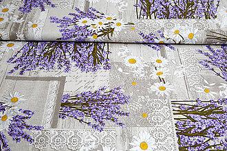 Textil - Bavlna Levanduľa digitálna tlač - 10712947_