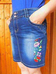 Sukne - Ručne vyšívaná džínsová sukňa - 10712502_