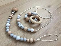 "Detské doplnky - Set hryzátko + retiazka na cumlík + náhrdelník ""Gritty Grey"" - 10713088_"