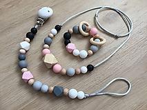 """Detské doplnky - Set hryzátko + retiazka na cumlík + náhrdelník """"Pinky Grey"""" - 10713307_"""