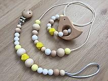 """Detské doplnky - Set hryzátko + retiazka na cumlík + náhrdelník """"Yellow Fellow"""" (S hryzátkom - vtáčik) - 10714183_"""