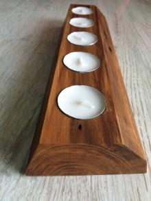 Svietidlá a sviečky - Drevený svietnik broskyňa - 10712171_