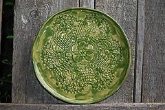 Nádoby - Keramický čipkovaný tanier - 10713625_