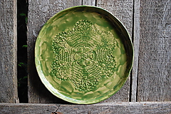 Nádoby - Keramický čipkovaný tanier veľký - 10713653_