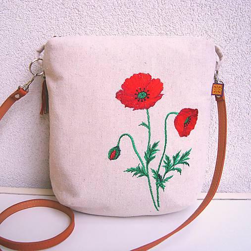 Ľanová kabelka s makom 2