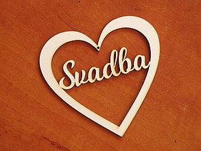 Materiál ručne robený - Drevené výrezy 11cm - srdce Svadba - 10712720_