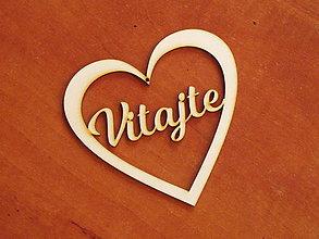 Materiál ručne robený - Drevené výrezy 11cm - srdce Vitajte - 10712735_