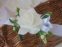 Náramky - Svadobný náramok-biela  ruža - 10712616_
