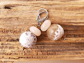 Náušnice - Náušnice achát a slnečný kameň - 10716134_