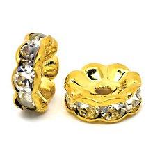 Komponenty - Rondelka štrasová vlnka 10mm (Zlatá) - 10715212_