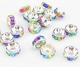 Komponenty - Rondelka štrasová s rovným okrajom 6mm (Pestrofarebná) - 10715679_