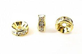 Komponenty - Rondelka štrasová s rovným okrajom 6mm (Zlatá) - 10715805_