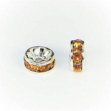 Komponenty - Rondelka štrasová s rovným okrajom 6mm (Oranžová) - 10715811_