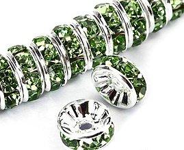 Komponenty - Rondelka štrasová s rovným okrajom 6mm (Zelená) - 10715889_