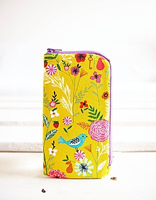 Na mobil - Obal na mobil-stredný-vtáčik na žltozelenej - 10716598_