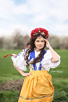 Ozdoby do vlasov - Svadobná ľudová kvetinová parta maky v červenom - 10716784_