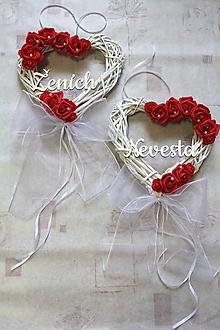 """Dekorácie - Set svadobných srdiečok na dvere """"červené"""" Nevesta/Ženích - 10715452_"""