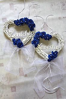 """Dekorácie - Set svadobných srdiečok na dvere """" modré """" Nevesta/Ženích - 10715529_"""
