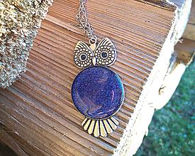 Náhrdelníky - Modrý náhrdelník- sova - 10715330_