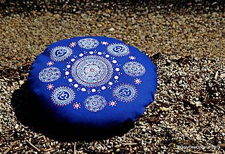 Úžitkový textil - Maľovaný ručne šitý meditačný vankúš BHAGIRATHI - 10716884_