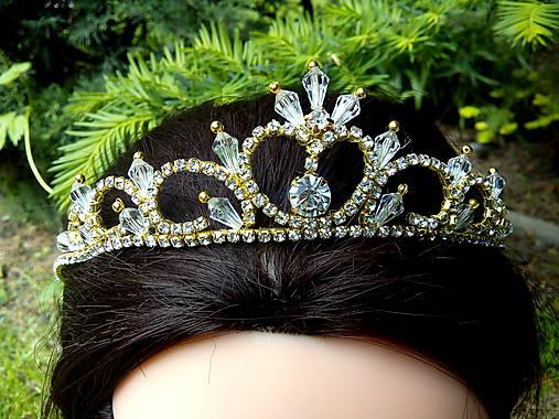 4852528b6 Zlatá svadobná tiara, korunka, čelenka so štrasom / Tajanna - SAShE ...