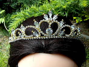 Ozdoby do vlasov - zlatá svadobná tiara, korunka, čelenka so štrasom - 10716812_