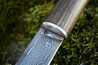 Nože - Damaškový nôž s orechovým drevom - 10715687_